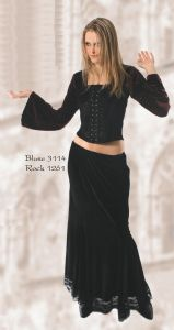 Gothic Long Velvet & Satin Top~Gothic Long Sleeved Velvet & Satin Top~By Bares/Fashion X~88-3114~